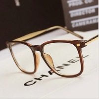 Trend vintage eyeglasses frame plain all-match fashion metal big frame glasses frame  free shipping