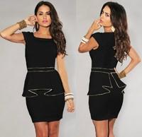 M L XL Plus Size New 2014 Fashion Women Black/White Vintage Gold Edge Peplum Casual party Dress Elegant OL Work Dresses N120