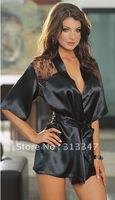15% off on sale Sexy lingerie lace underwear ladies night gowns bathrobe mini robes women nightwear black free shipping KC348