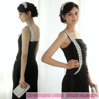 Cii wholesale price sexy black evening dress was thin shoulder long evening dress dinner party funds