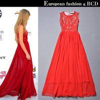2014 elegant chiffon silk full dress red the bride married long design formal dress