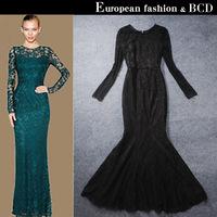 Trailing elegant christmas long design evening dress slim long-sleeve train formal dress