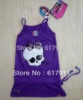 Retail new 2014 girl clothing children t shirts Monster High girls Sleeveless t-shirts Kids Branded clothing girl fashion cloth