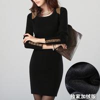 London Fashion!2014 new women's slim long-sleeve  one-piece dress ,Rivet,Plus Size XL XXL