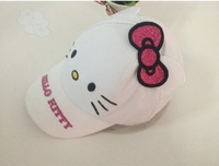 (10 Pcs/Lot) 2014 Summer New Arrival Lovely Hello Kitty 1~12 Years Children Girl's Cotton White Sun Hats