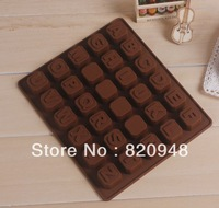 Free Shipping 26 Alphabet Letters+4 Blank DIY Jelly Ice Cube Tray Cookie Silicone Mould Baking Mold