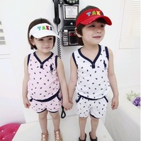 Brand Quality!Retail Kids Sport Sets,Free Shipping 100% Cotton Kid's Casual Summer Suit,Pants Suit,Cool Vest Sets,Kids Clothing