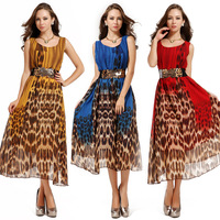 8398 2014 fashion leopard print o-neck chiffon print one-piece dress slim expansion bottom full dress