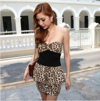 Sexy Evening Dress Sheath Strapless Leopard Dress Unique Design Club Miniskirts KR211