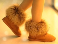 2014 Hot Free shipping winter short snow boots artificial fox rabbit fur shoes yellow black  size 36-40