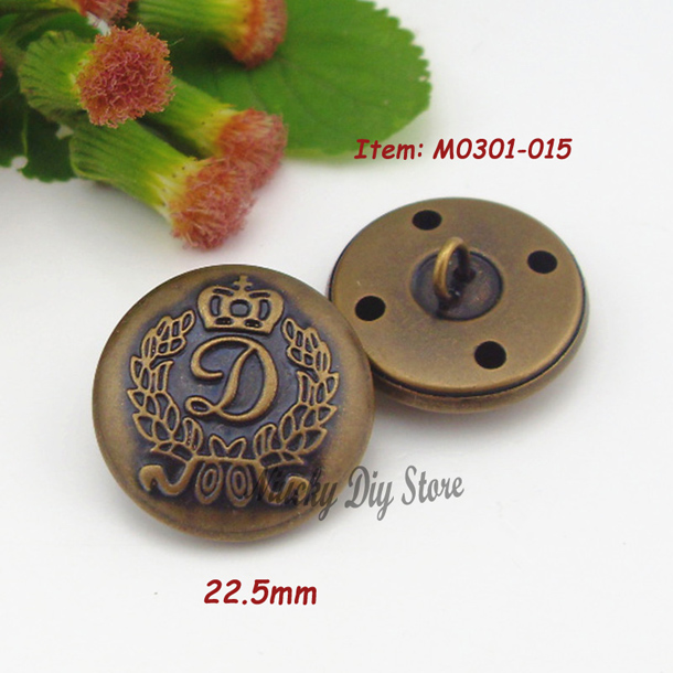 22.5mm 36L Brass buttons Antique delicate crown Buttons for coats or jacket metal accessories for sewing(China (Mainland))