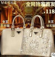 New 2014  European and American  gold shells diamond dinner bag handbag  + free shipping !!!