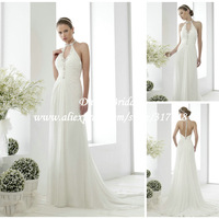 New Design Halter Top Beach Long Chiffon Wedding Dresses Open Back with Beading Free Shipping SE311
