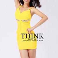 Womens Sexy V-neck Dresses Club Dress Yellow Bodycon Draped Beaded Spaghetti Straps Hot Clubwear Party Mini Dresses 2014 New