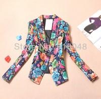 new 2014 European style slim plus size  print blazer women  / blazer feminino  / women blazers & jackets