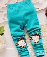 Free shipping baby full length cartoon pants children cotton skinny elastic waist leggings girl mid character pant