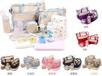 PROMOTION!Diaper Bag multifunctional mommy bags for baby Shoulder Bag women messenger mommy bags (contain 5 pcs)