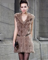 PP063 New 2014 Fashion Free Shipping Winter Dress Solid Color Belt O-Neck Regular Genuine Leather Rabbit Fur Coat Casual Dress