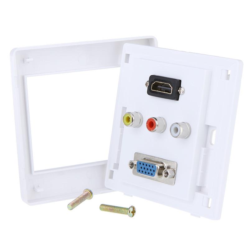 1 x HDMI 1 x VGA 3 x AV Wall Plate Coupler Socket, Free Shipping(China (Mainland))