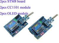 Discount Industrial 433MHz wireless transceiver module kit (2pcs CC1101 module+2pcs STM8L develpment board+2pcs OLED module)