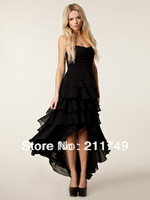 Free shipping women's strapless asymmetrical chiffon cascading ruffle dress front short&back long dress strapless chiffon dress