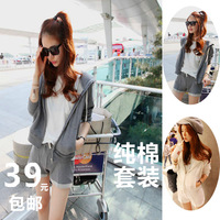 2013 casual sports set female zipper drawstring hooded outerwear long-sleeve shorts grey set summer sportswear