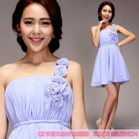 Cii shoulder purple bridesmaid dress short paragraph special occasion dress