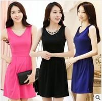 2014 spring one-piece  slim sleeveless tank dress basic