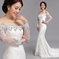 2013 winter long-sleeve slit neckline fish tail train lace wedding dress bride formal dress 383