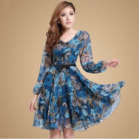 2014 print chiffon women's charm ol slim bohemia one-piece dress plus size clothing