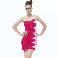 Womens Sexy Nightclub Falbala Dress Hot Clubwear Applique Ruched Pub Party Bodycone Strapless Mini Dresses 2014