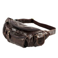 2014 New Genuine Leather Mens Waist Bag The First-layer Cowhide Vintage Tactical Chest Pack Outdoor Travel Brown Messenger Bags