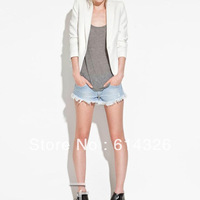 2014 women's blazers autumn new fashion items brand ZA**  white jackets zipper button femail clothes tops free shipping