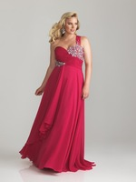 Elegant Chic A-line Sweetheart Crystals Beaded Chiffon Plus Size Prom Dress 2014 Fashion Cheap