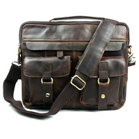 Vintage Casual Genuine Leather Cowhide Crazy Horse Leather Men Business Handbag Messenger Bag Shoulder Bag Bags For Men