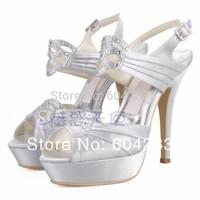 wholesale free shipping MZ708 handmade white rhinestone plus size ultra high heels platform sandals