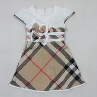 Retail New 2014 Summer Brand Baby Girl Dress Bow 100% Cotton Girls Plaid Dresses  Kids dress tutu girl party dress White #1008