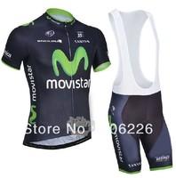 Free Shipping! CYCLING SHORTS JERSEY+BIB SHORTS 2014 NEW MOV** Cycling Kit / Jersey / Pants Bike Clothes SET Navy greenSZ:XS-4XL