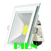 10W COB led lamp square recesed ceiling down lights luces glass high power warm white 110V -240V Free Shipping 1pcs/lot