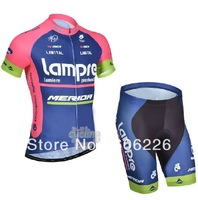 Free Shipping! CYCLING SHORTS JERSEY+SHORTS 2014 NEW Lam** Cycling Kit / Jersey / Pants Bike Clothes SET BLUE&PINK SZ:XS-4XL