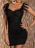 Women's Sexy Club Dresses Bodycon Dress Rhinestone Studded Fringe Shoulder Ruched Hot Clubwear Party Dresses 2014 New Fashion