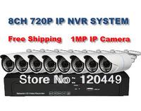 Free shipping 8ch 720P NVR Kit, including ( 1 NVR + 8 IP camera ), 1.0 megapixel Bullet outdoor waterproof IP camera kit