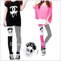 New women skull pirate leggings ladies colorful stripe patchwork trouser pants bodycon skinny hot sexy hip hop rock cute spandex