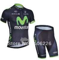 Free Shipping! CYCLING SHORTS JERSEY+SHORTS 2014 NEW MOVIS**  Cycling Kit / Jersey / Pants Bike Clothes SET BLUE&GREEN SZ:XS-4XL