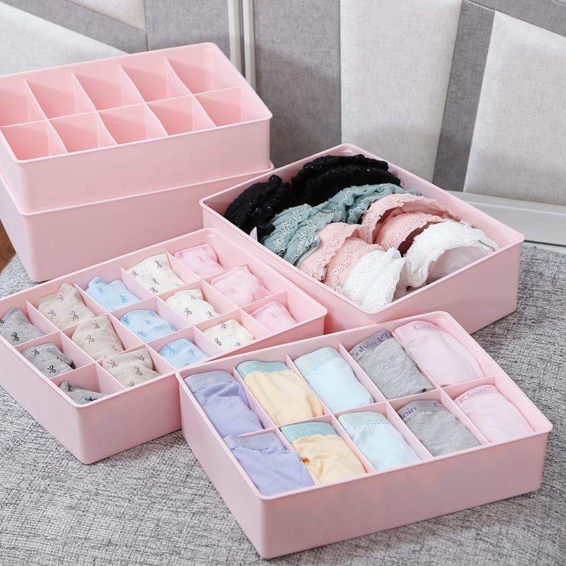 caixa de armazenamento underwear conjunto de três peças acabamento caixa meias sutiã calcinha de plástico gaveta do armário(China (Mainland))