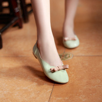 2014 princess sweet round toe flat heel shallow mouth bow solid color low-top shoes single shoes female
