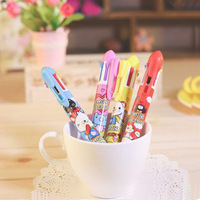 Free shipping Korea stationery cartoon the entense pattern 6 ballpoint pen mechanical pencil multifunctional pen
