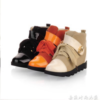 Autumn elevator fashion gold skull black orange meters colorant match high-top shoes