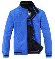 2014 New Autumn Winter Mens Fashion Sports For Men's Double-Sided Wear Jacket Collar Coats / Size XL-XXXXL/Color Black Blue