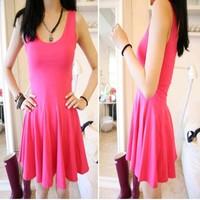 2014 New Summer Woman Lady Solid Modal Sheath Sleeveless O Neck Ruffles Sweep Mini One-piece Dress